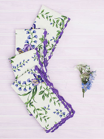 Irresistible Iris Crochet Napkin Set of 4