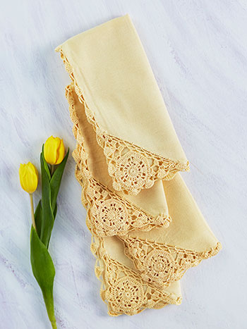 Cora's Crochet Trim Napkins Set of 6 - Butter