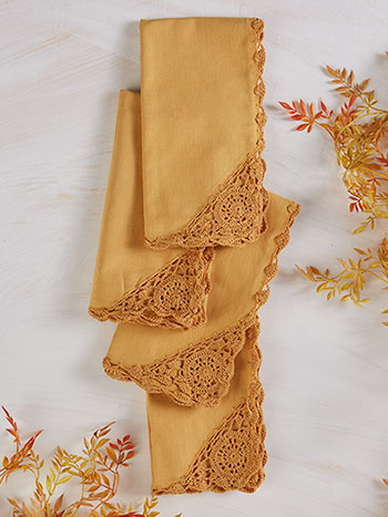 Cora's Crochet Trim Napkins Set of 6 - Gold