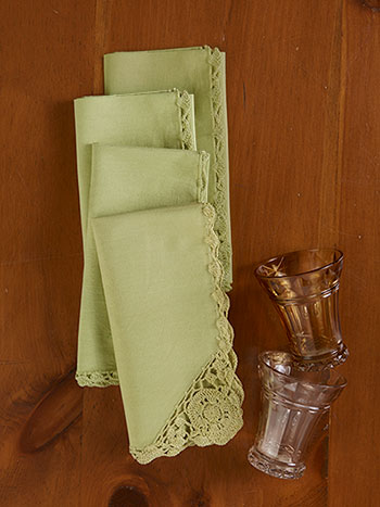 Cora's Crochet Trim Napkins Set of 6 - Lemongrass