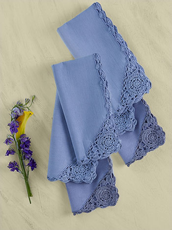 Cora's Crochet Trim Napkins Set of 6 - Periwinkle