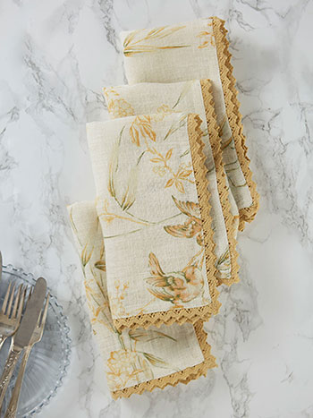 Bamboo Garden Linen Napkin Set of 4