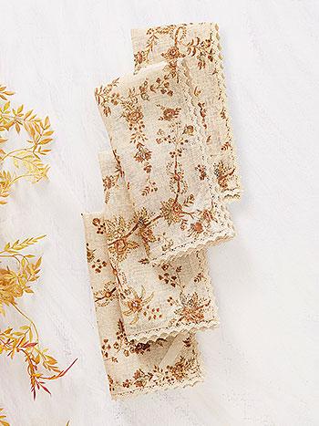 Vintage Garden Linen Napkin Set of 4