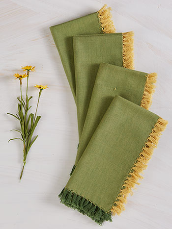 Chambray Napkin Set of 4 - Green/Gold