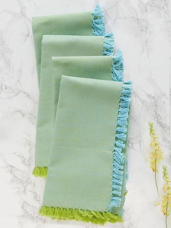 Chambray Napkin Set of 4 - Aqua/Green