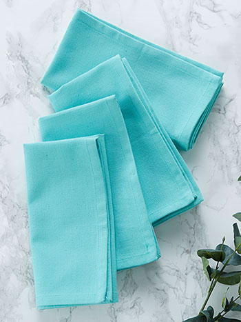 Hemmed Essential Napkin Set of 4 - Aqua