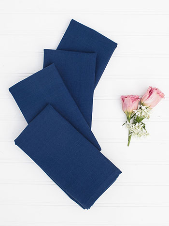 Hemmed Essential Napkin Set of 4 - Blue
