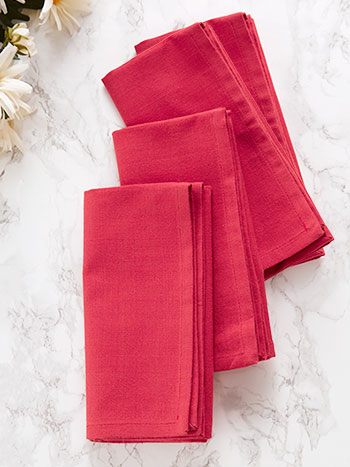 Hemmed Essential Napkin Set of 4 - Coral