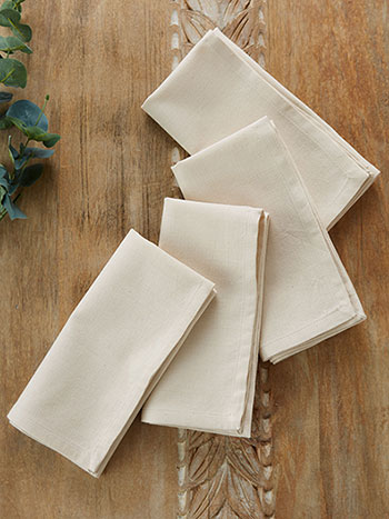 Hemmed Essential Napkin Set of 4 - Ecru