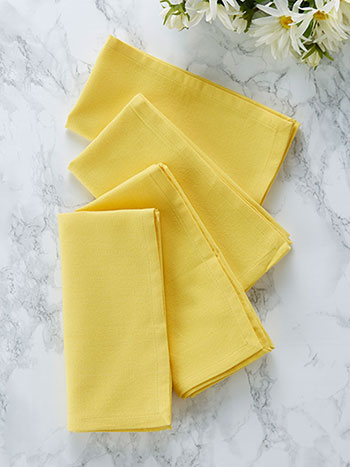 Hemmed Essential Napkin Set of 4 - Yellow