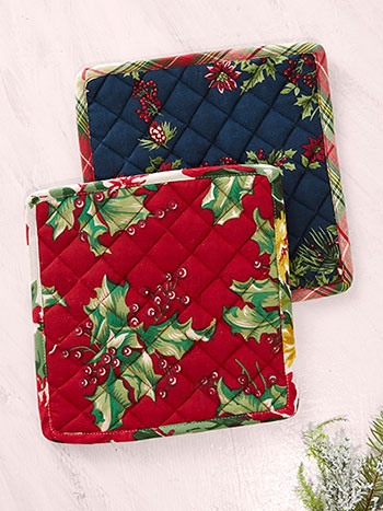 Joyful Patchwork Potholder S/2