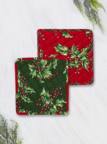 Holly Patchwork Potholder Set of 2