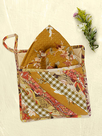 Autumn Patchwork Pocket Potholder w/Towel