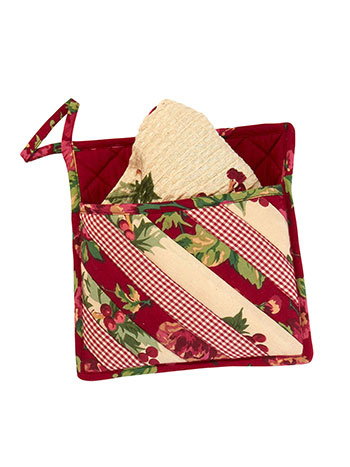 Christmas Patchwork Pocket Potholder w/Towel