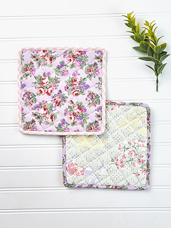 Tea Garden Patchwork Potholder Set of 2