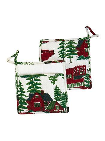 Christmas Village Pocket Potholder