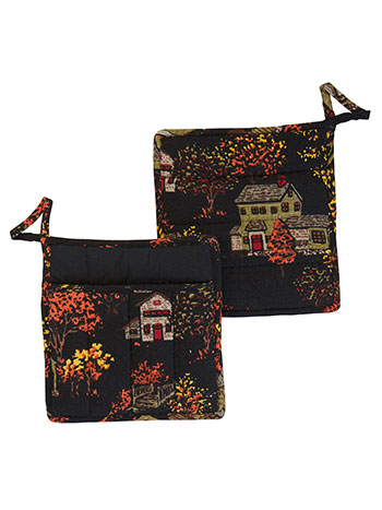 Halloween Village Pocket Potholder