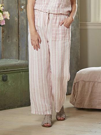 Rosy Linen Stripe Pant