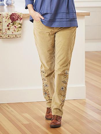 Dakota Embroidered Corduroy Pant