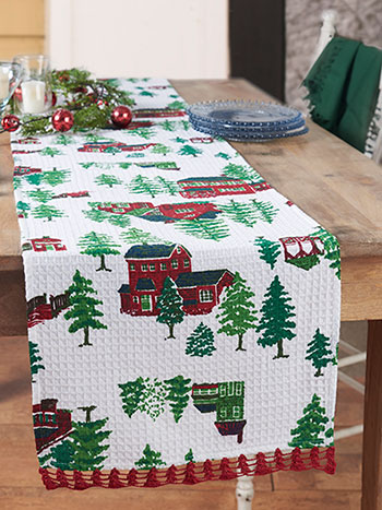 Christmas Village Crochet Runner