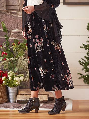 Floral Bouquet Velvet Skirt