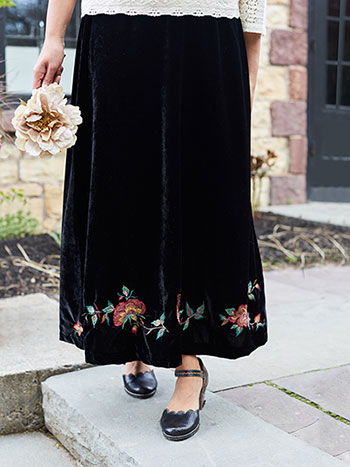 Fiona Embroidered Velvet Skirt