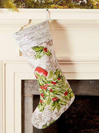 Deck the Holly Linen Stocking