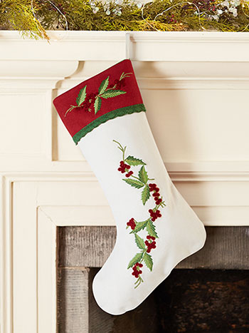 Hazel's Holly Embroidered Stocking
