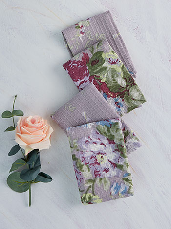 Cottage Rose Tiny Towel Set of 4