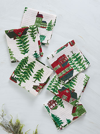 Christmas Village Tiny Towel Set of 6
