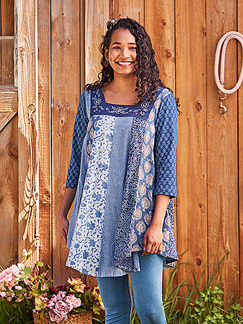 Indigo Day Patchwork Tunic