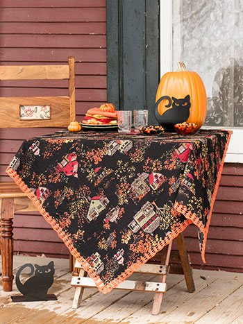 Halloween Village Crochet Tablecloth