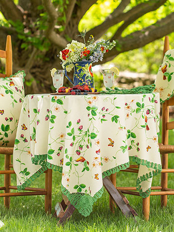 Strawberry Fields Crochet Tablecloth