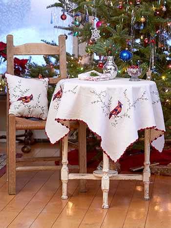 Cardinal's First Frost Embroidered Tablecloth