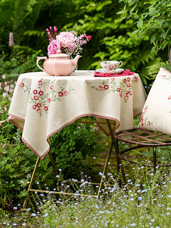 Cherry Blossom Embroidered Tablecloth