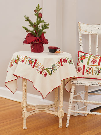 Christmas Sampler Embroidered Tablecloth