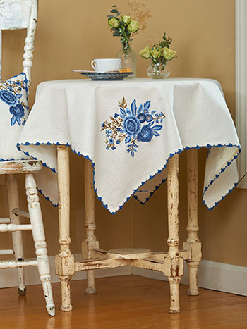 Delft Embroidered Tablecloth