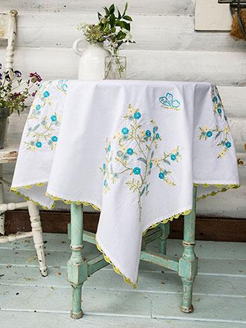 Hidden Garden Embroidered Tablecloth