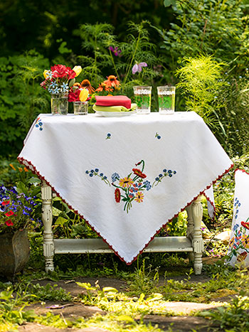 Patty's Picnic Embroidered Tablecloth