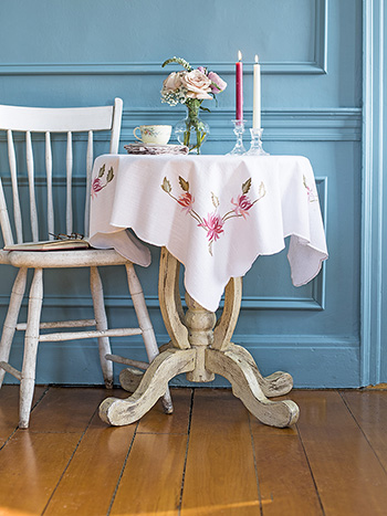 Vintage Charm Embroidered Tablecloth