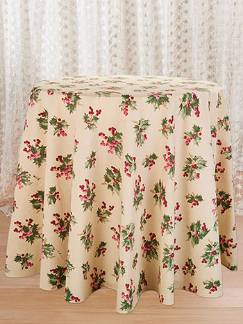 Holly Berry Round Tablecloth