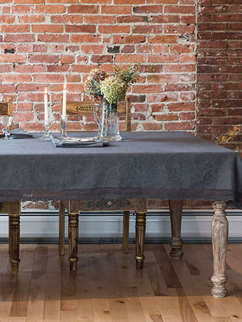 Luxurious Linen Jacquard Tablecloth - Charcoal