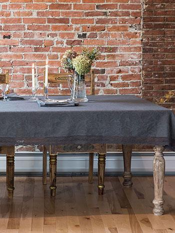 Luxurious Linen Jacquard Tablecloth - Charcoal