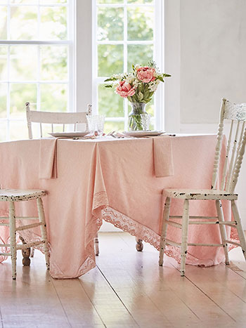 Luxurious Linen Jacquard Tablecloth - Soft Rose