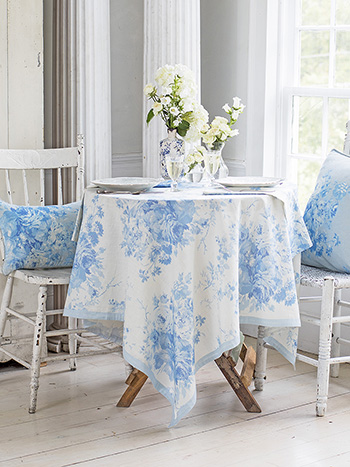 Cottage Rose Linen Tablecloth