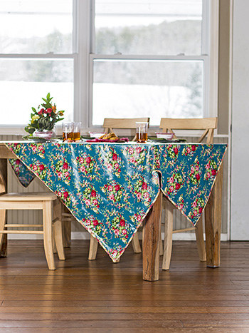Cottage Rose Oil Cloth Tablecloth