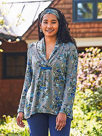 Victorian Rose Shawl Collar T-Shirt