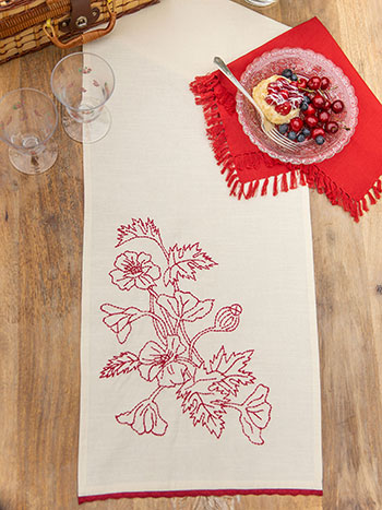 Poppy Embroidered Table Runner