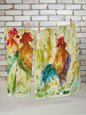 Rooster Watercolor Tea Towel Set of 3