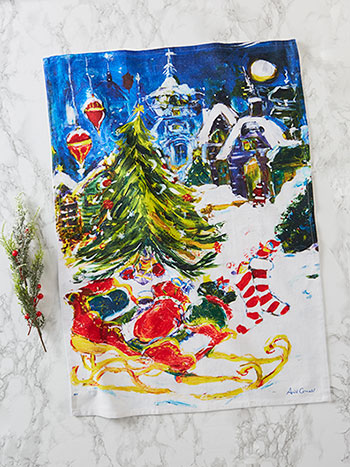 April's Christmas Village Tea Towel